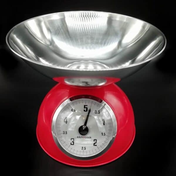 Bilancia meccanica con contenitore inox fino a 5 kg   rossa - nera