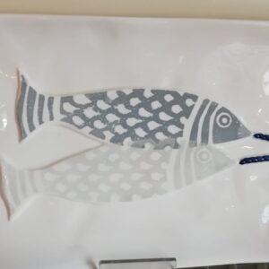 """Piatto rettangolare da portata dec. """"pesci"""""""