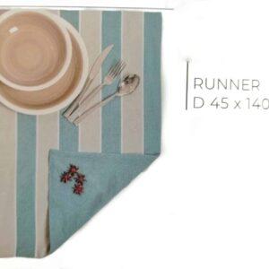 Runner rigato azzurro e grigio dimensioni 45 x 140 cm