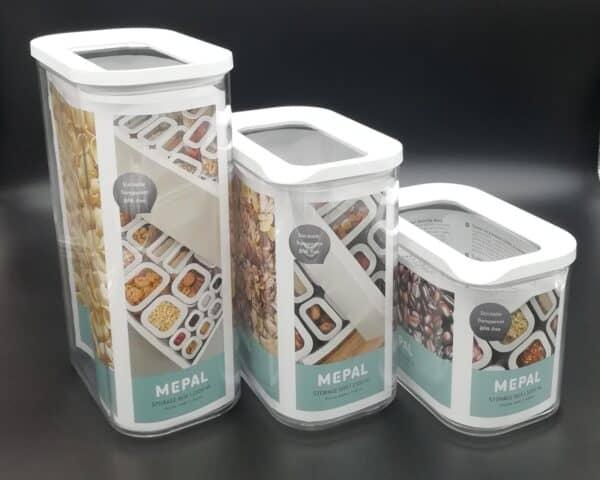 Barattoli Mepal trasparente tappo bianco capienza da 500 ml a2000 ml