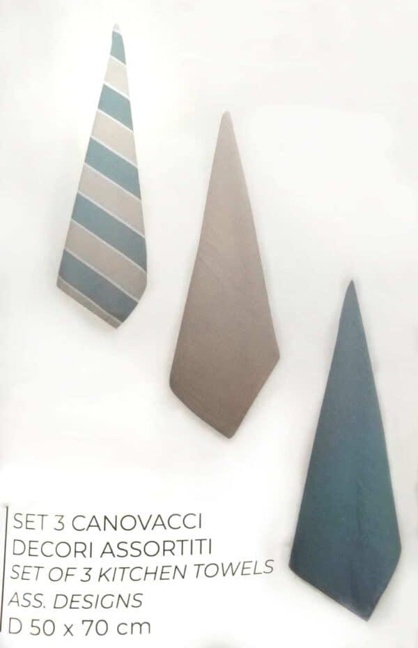 3 canovacci 100% cotone colori assortiti