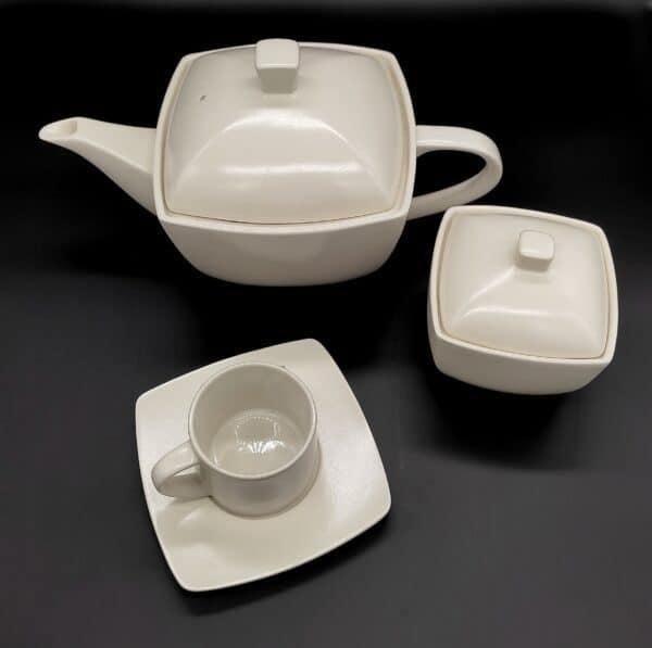 Servizio tazze Dimora, Moderno opaco in porcellana, 8 tazze con zuccheriera e caffettiera/theiera